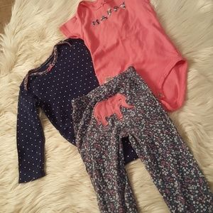 3 piece outfit elephant on bum